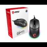 MSI CLUTCH GM11 RGB Optical Gaming Mouse '5000 DPI Optical Sensor, 6 Programmable button, Dual-Zone RGB, Symmetrical design, OMRON Switch with 10+ Million Clicks, RGB Mystic Light'