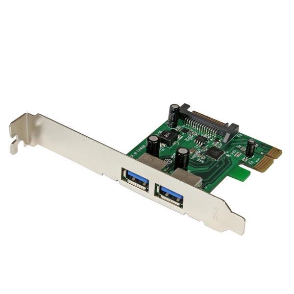 StarTech.com Tarjeta PCI Express de 2 Puertos USB 3.0 SuperSpeed con UASP y Alimentación SATA - Adaptador Interno