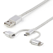 StarTech.com Cable Trenzado de 1m USB a Lightning USB-C y Micro USB - Cable Cargador para Teléfono Móvil iPhone iPad Tablet