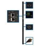 Tripp Lite PDUMV20HVNETLX 3.7kW Single-Phase Switched PDU - LX Interface, 208/230V Outlets (20 C13 & 4 C19), C20/L6-20P, 0U, TAA