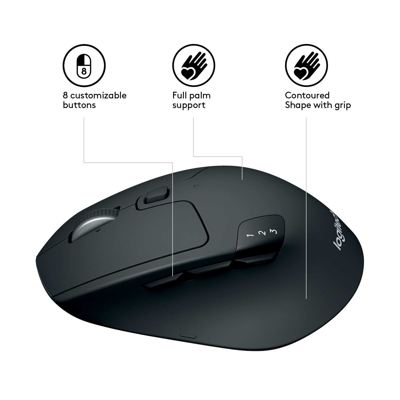 2ce9e92ce3c Logitech M720 mice RF Wireless+Bluetooth Optical 1000 DPI Right-hand