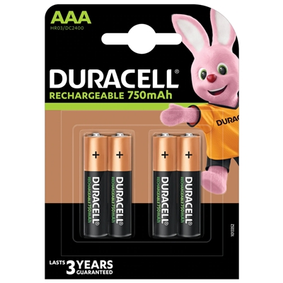 Duracell Recharge Plus Pack of 4 AAA 750mAh Rechargeable Batteries