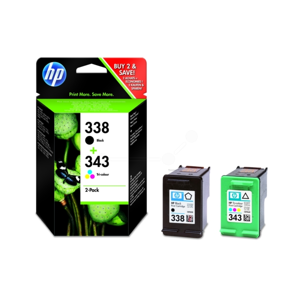HP SD449EE (338+343) Printhead multi pack, 11ml+7ml, Pack qty 2