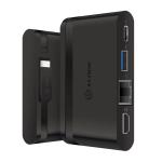 ALOGIC USB-C Travel Dock Essential/USB-C to HDMI 1.4 (4K@30Hz) + USB 3.0 + Gigabit Ethernet + USB-C with PD 100W