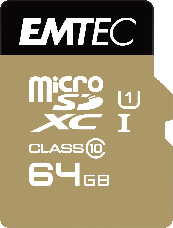 Emtec microSD Class10 Gold+ 64GB memory card