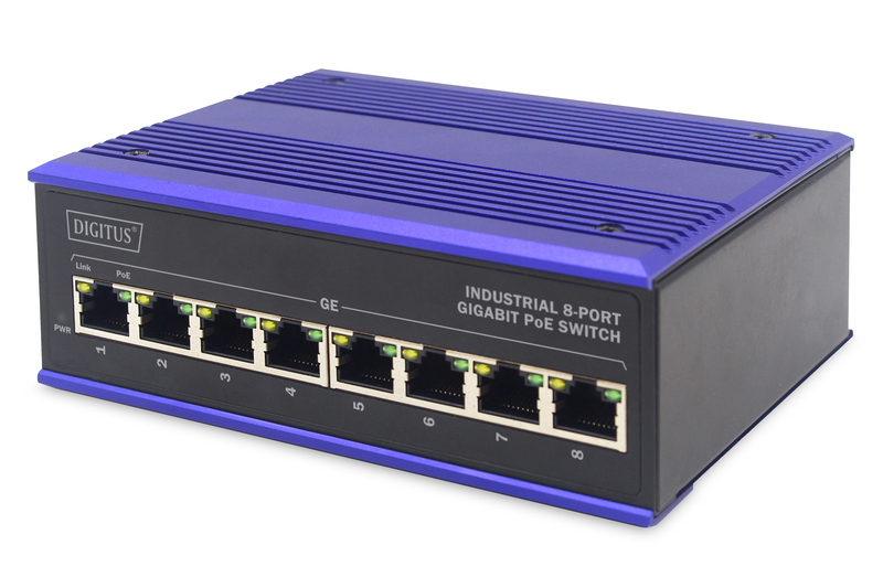 ASSMANN Electronic DN-651121 netwerk-switch Gigabit Ethernet (10/100/1000) Zwart, Blauw Power over Ethernet (PoE)