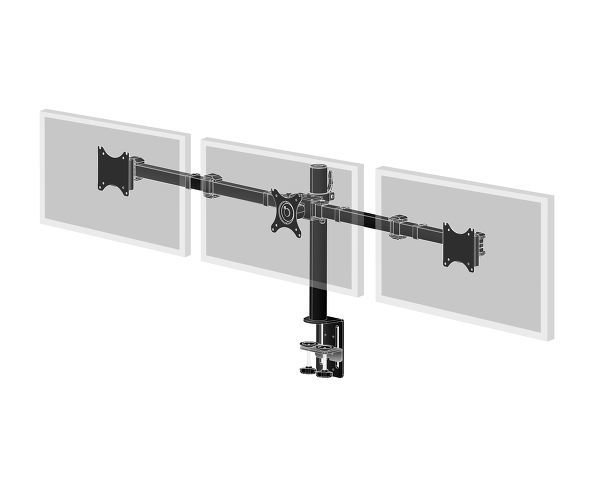 "Iiyama DS1003C-B1 - Stand for 3 monitors (adjustable arm) - black - screen size: 10""-27"" - desktop s"
