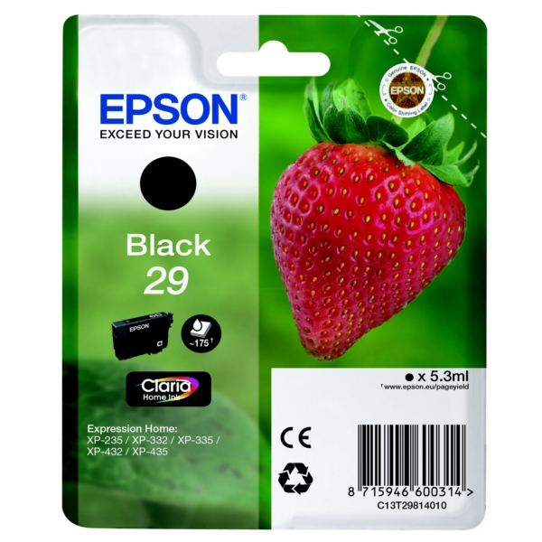 Epson C13T29814022 (29) Ink cartridge black, 175 pages, 5ml