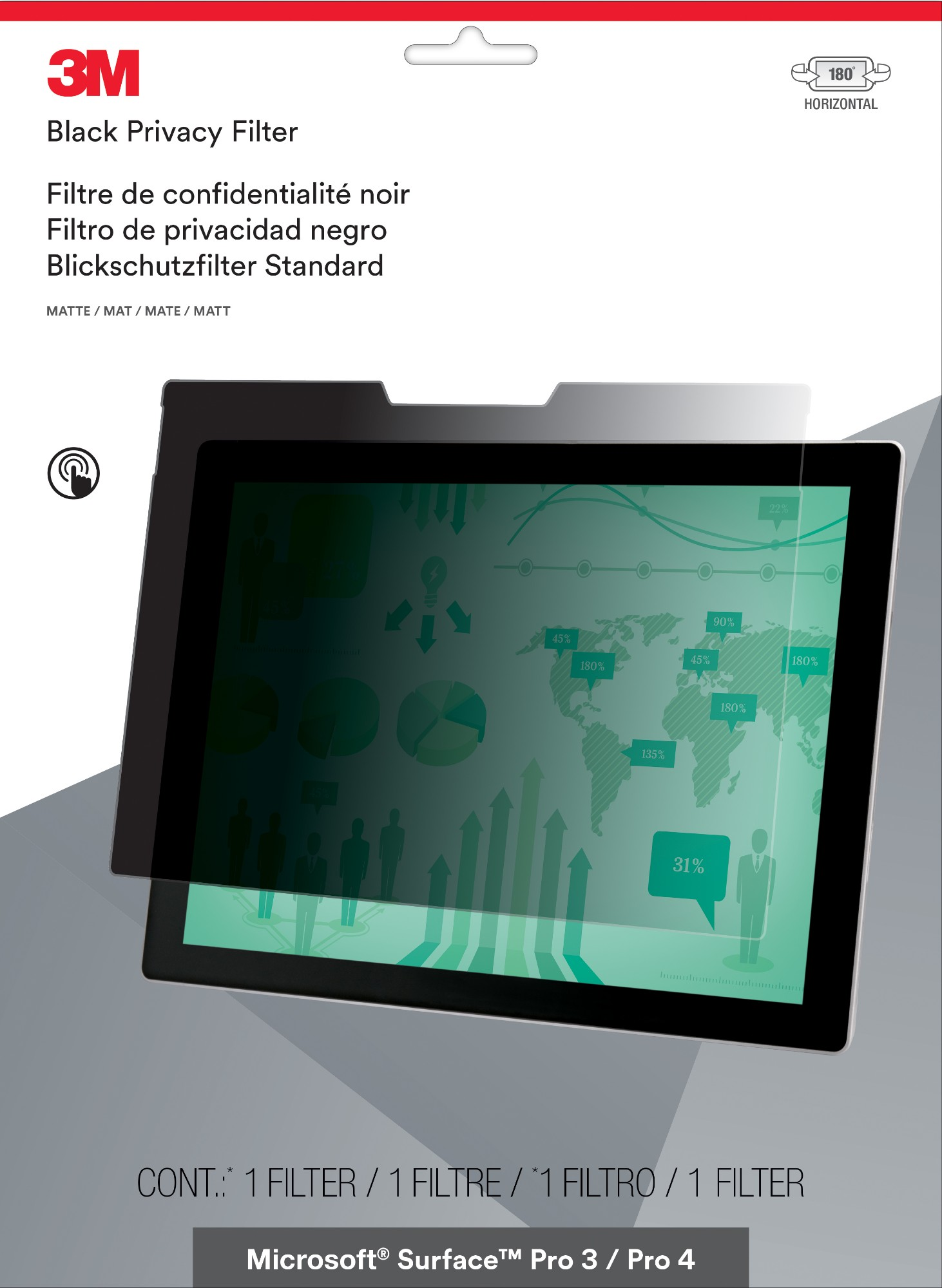 "3M PFTMS001 Frameless display privacy filter 31.2 cm (12.3"")"