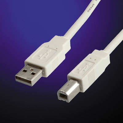 USB2.0 Cable A-B. M/M. White. 3.0m