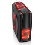 CIT Dragon³ Midi Black Case With 12cm Red LED Fans & Side Window