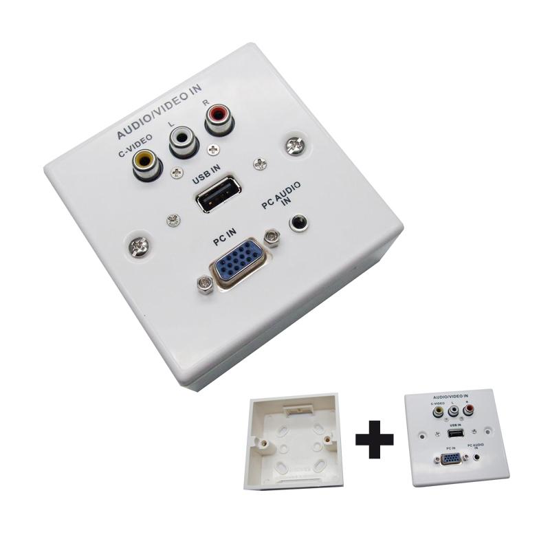 Nanocable placa de pared vga jack3 5 usb2 0 3xrca con caja for Placas para pared