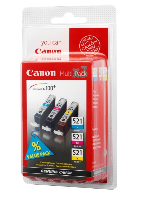 Canon 2934B011 (521) Ink cartridge multi pack, 446 pages, 3x9ml, 9ml, Pack qty 3