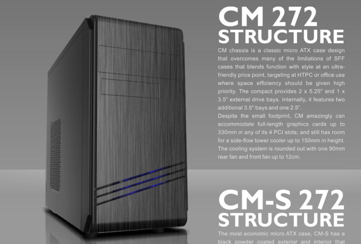 Casecom CM-272 Case mATX w/550W USB3+USB2,HDAudio