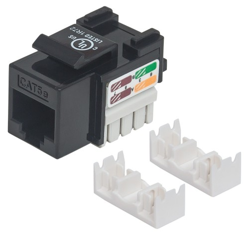 Intellinet Keystone Jack, Cat5e, UTP, Punch-down, Black