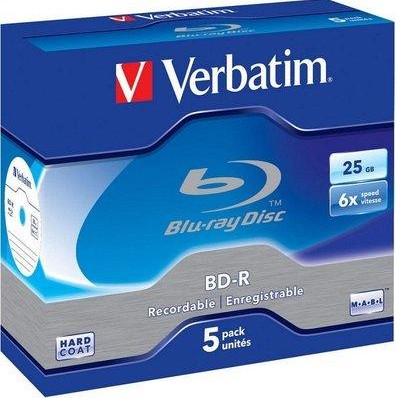 VERBATIM BD-R SL DATALIFE 25GB 6X 5PK