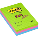 Post-It Super Sticky Notes, 4 in x 6 in, Rio de Janeiro Collection, Lined, 3 Pads/Pack, 90 Sheets/Pad
