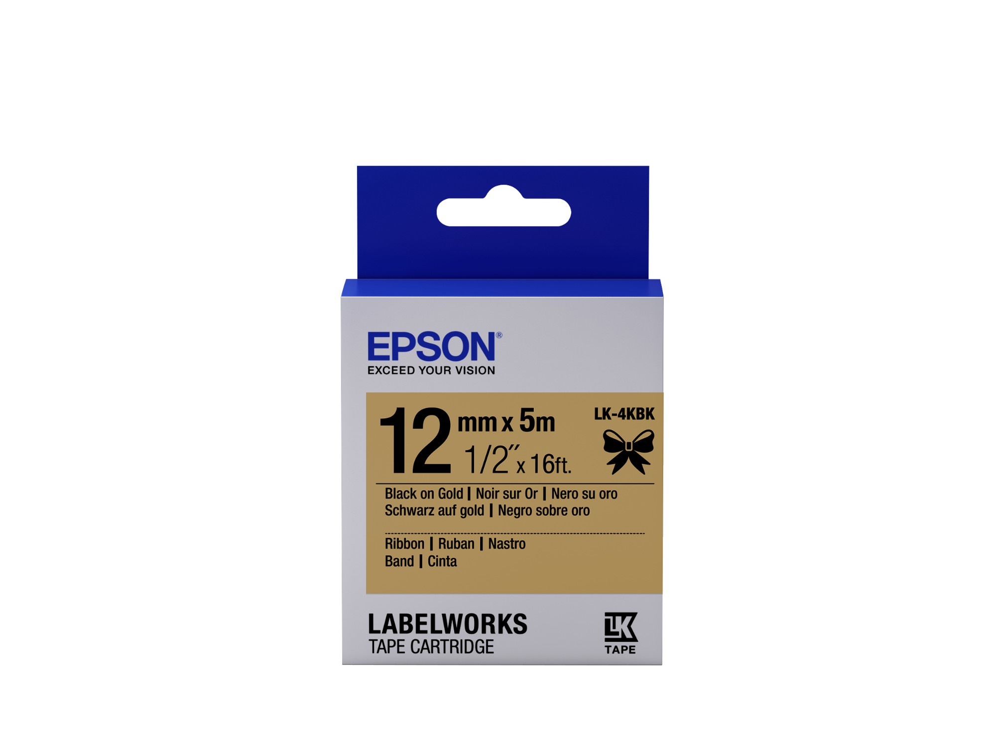 Epson Cartucho de etiquetas de cinta satinada LK-4KBK negro/oro de 12 mm (5 m)