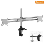 Brateck Elegant Dual Vertical LCD Monitor Table Stand w/Arm & Desk Clamp VESA 75/100mm Up to 27""