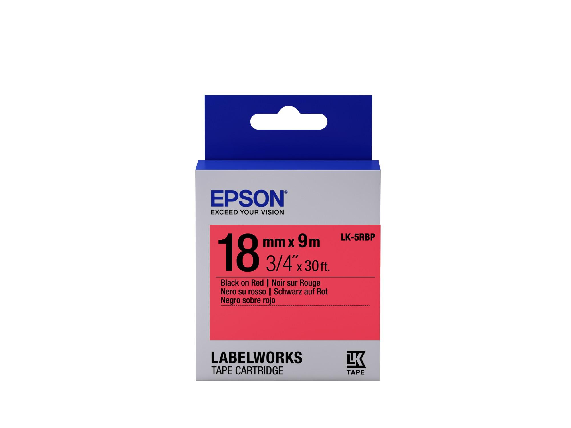 Epson Pastel Tape - LK-5RBP Pastel Blk/Red 18/9