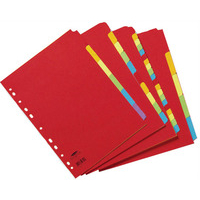 Concord Contrast Subject Dividers Europunched 10-Part A4 Assorted Ref 50899