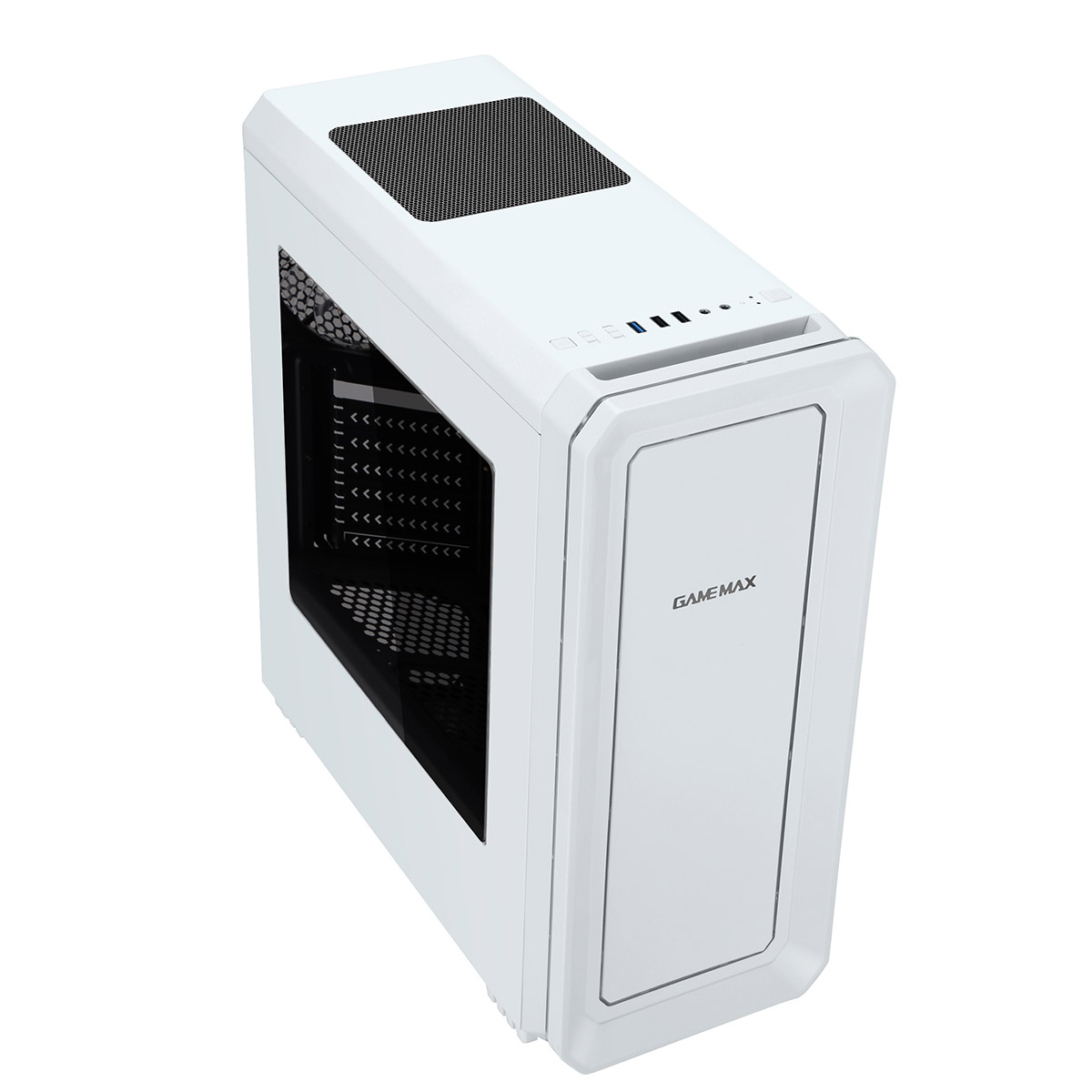 GAMEMAX Vegas White with 2 x 12cm Front Fans with 7 Colour LED Facia