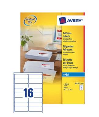 Avery J8162-100 addressing label White Self-adhesive label