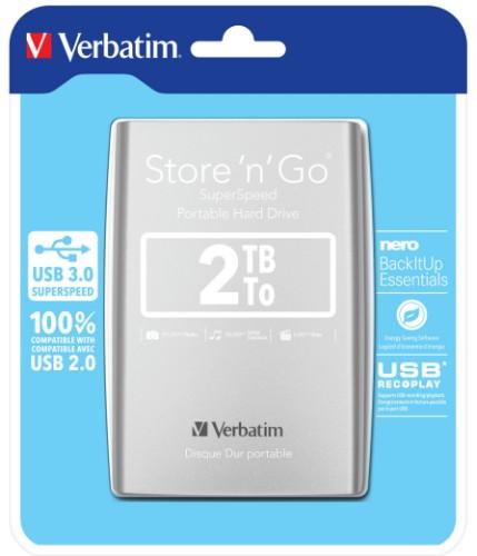 Verbatim Store 'n' Go external hard drive 2048 GB Silver