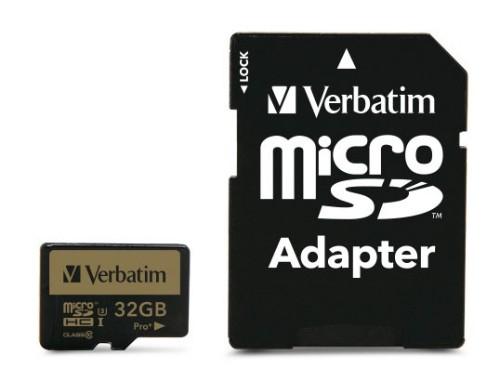 Verbatim Pro+ 32GB MicroSDHC UHS-I Class 10 memory card