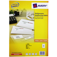 Avery Universal Labels, White 105x37mm self-adhesive label 1600 pc(s)