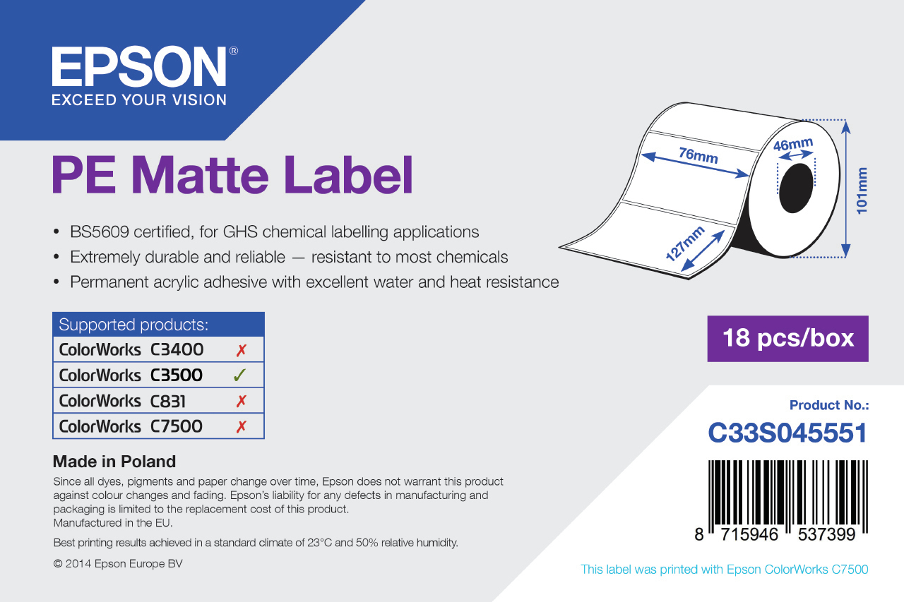 Epson PE Matte Label - Die-cut Roll: 76mm x 127mm, 220 labels