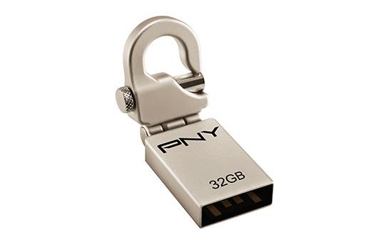 PNY 32GB Micro Hook Attaché 32GB USB 2.0 Metallic USB flash drive