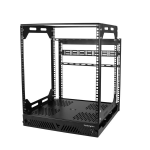 "StarTech.com 12U Sliding Rotating Open Frame Network Rack - 4 Post AV /Data Rack - 16.7"" Deep Slide-Out IT Equipment Rack w/Cable Management Pull Out/Pivoting Computer/Communications Rack"