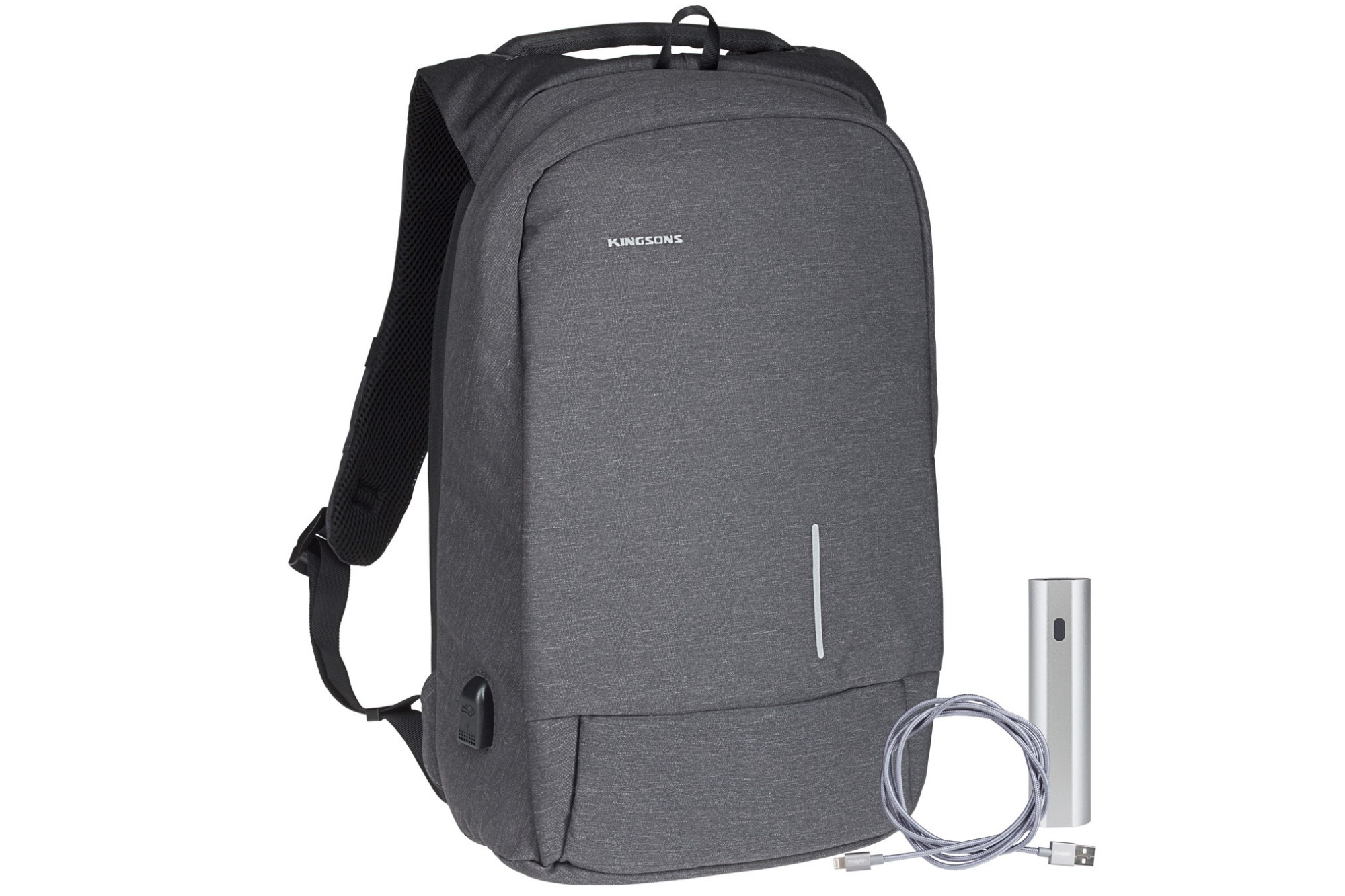 "Kingsons Smart Anti Theft USB Series 15.6"" Laptop Backpack and Power Bank Bundle - Dark Grey"