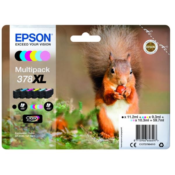 Epson C13T37984010 (378XL) Ink cartridge multi pack, 11,2ml 3x9,3ml 2x10,3ml, Pack qty 6