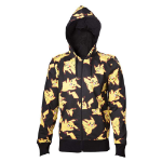 POKEMON Adult Male Pikachu All-over Full Length Zipper Hoodie, Small, Black/Yellow (HD161000POK-S)
