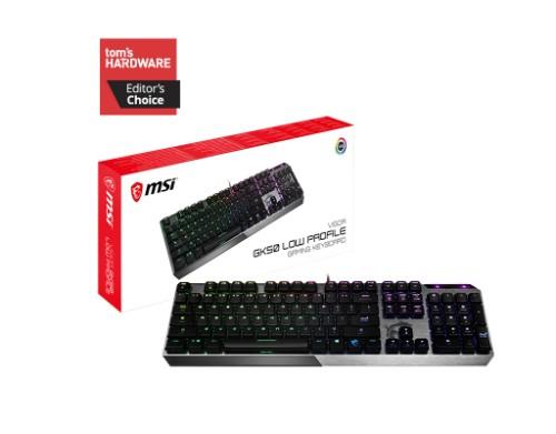 MSI VIGOR GK50 LOW PROFILE Mechanical Gaming Keyboard 'UK-Layout, KAILH Low-Profile Switches, Multi-Layer RGB LED Backlit, Tactile, Floating Key Design'
