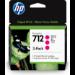 HP 712 Original Magenta 3 pieza(s) Rendimiento estándar