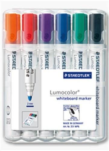 Staedtler Lumocolor 351 WP6 marker 6 pc(s) Black,Blue,Green,Orange,Red,Violet