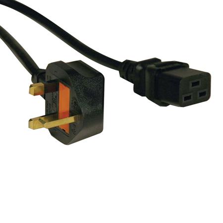 Tripp Lite Standard UK Power Cord, 15A (IEC-320-C19 to BS-1363 UK Plug), 8-ft.