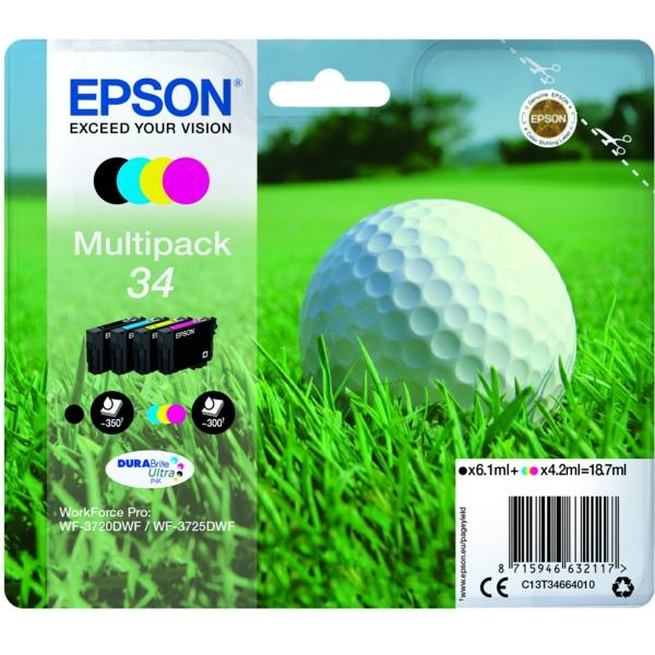 Epson C13T34664010 (34) Ink cartridge multi pack, 6,1ml + 3x4,2ml, Pack qty 4
