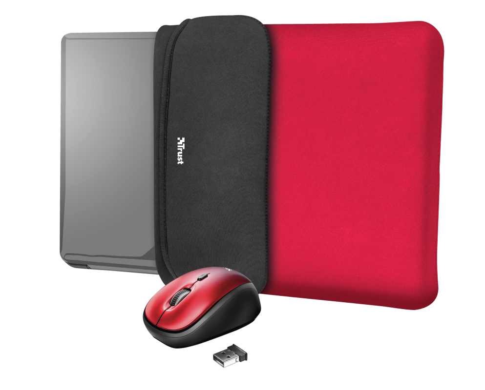 "Trust 23455 notebook case 39.6 cm (15.6"") Sleeve case Black,Red"