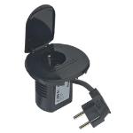 C2G Legrand(R) Power Desk Grommet 1 Socket 2P+E - French Standard - 2m Cord - Black Finish