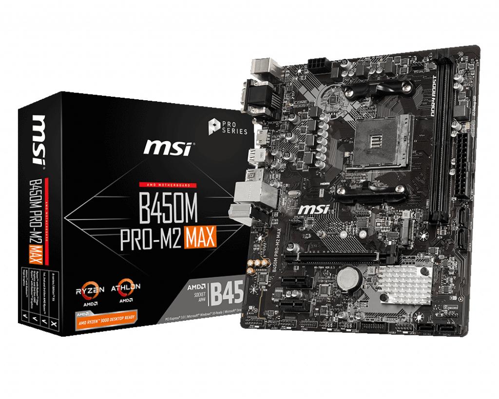 MSI B450M PRO-M2 MAX motherboard Socket AM4 Micro ATX AMD B450