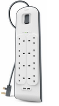 8 Way Surge Protection Strip - 2m With 2 X 2.4amp USB Charging (bsv804af2m)