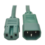 Tripp Lite Heavy-Duty Computer Power Cord, 15A, 14 AWG (IEC-320-C14 to IEC-320-C15), Green, 1.83 m