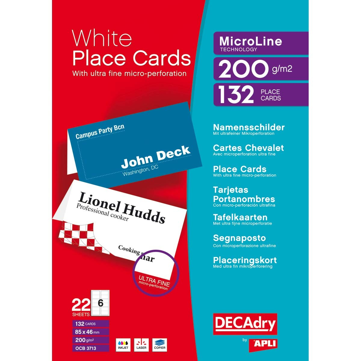 DECAdry (85 x 46mm) 200gsm Folding Place Cards White PK132
