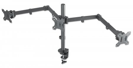 "Manhattan Monitor Desk Mount (clamp), 3 screens, 10-27"", Vesa 75x75 to 100x100mm, 3 pivots, Height up to 44cm, Max 14kg, Black"