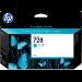 HP Cartucho de tinta DesignJet 728 cian de 130 ml
