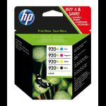 HP 920XL Origineel Zwart, Cyaan, Magenta, Geel 4 stuk(s)
